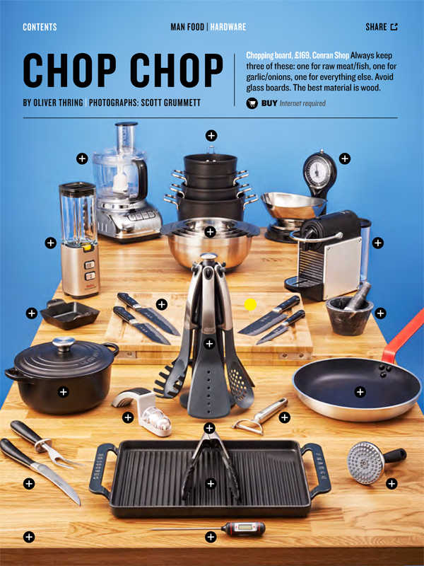 Man Food: What does any man need in his kitchen? A feature on top utensils and appliances that every man needs. Each one can be clicked on via the ipad to give more details of whats needed.