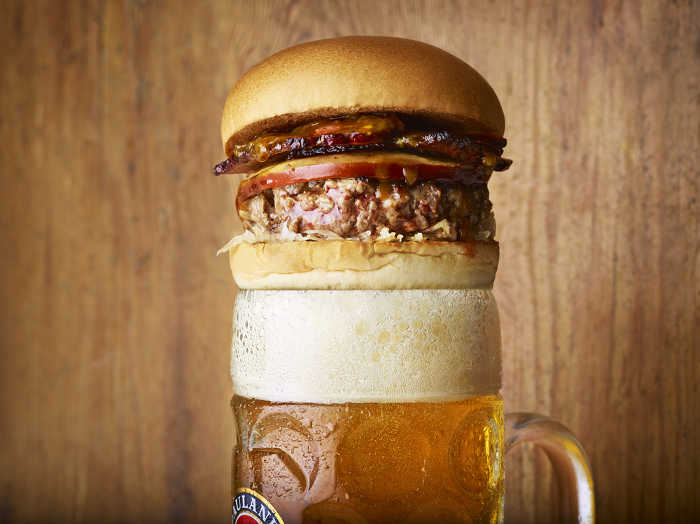 food photographer food photography still life Honest burgers burger restaurant press pr advertising editorial patty brioche bun cheese beer stein bacon smoked bavarian cheese sauerkraut sour kraut bavaria bacon curry sauce special