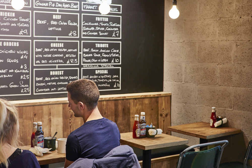 Honest Burger's new location in Liverpool Street. Imagery and Photography by London based still life and food photographer Scott Grummett. The Chalkboard menu.