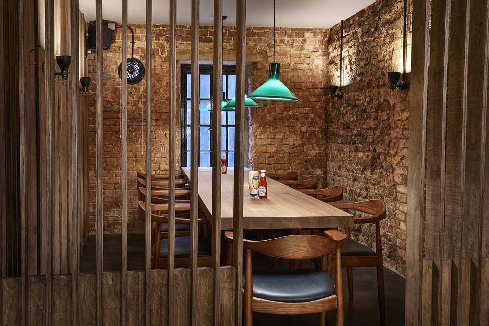 The new private room in   Honest Burger's new location in Liverpool Street. Imagery and Photography by London based still life and food photographer Scott Grummett