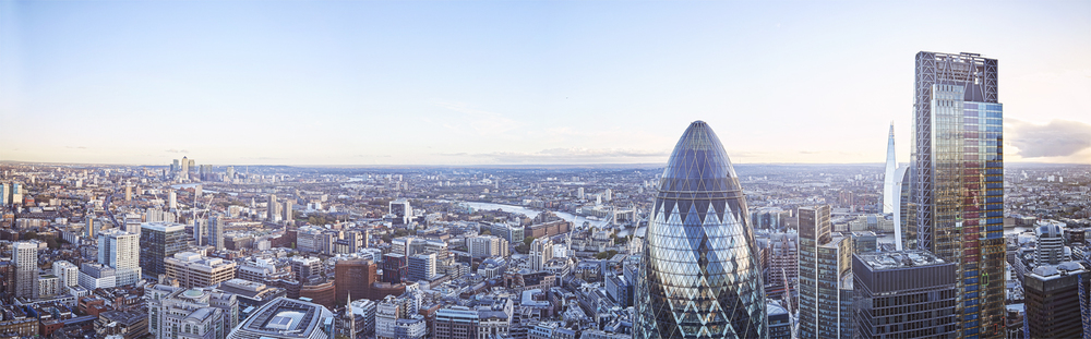 The view from the Duck & Waffle's Balcony on the 40th floor of The Heron Tower.