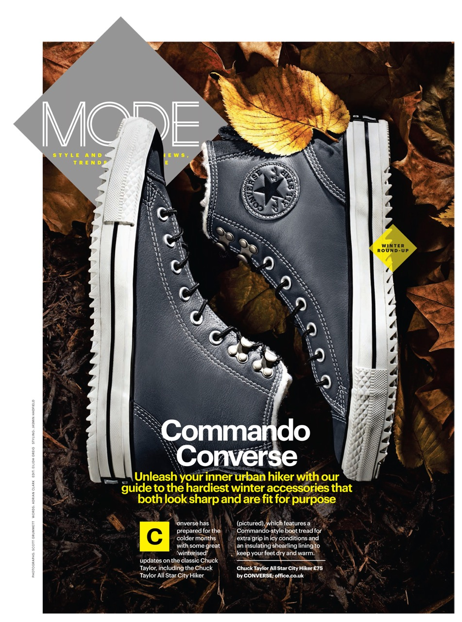 still life photography london by scott grummett who also shoots food & drink for advertising editorial packaging press and pr recipe books and cookbooks for clients in the uk and internationally. This shot was for shortlist showing chuck tailor converse trainers shoes