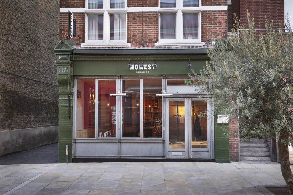 Honest burgers Clapham restaurant exterior and interior photography by London food photographer and director Scott Grummett