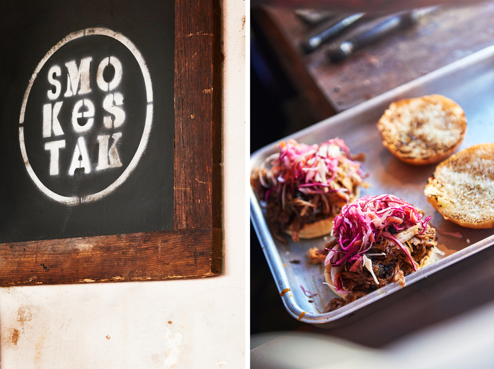 Street food photography from street feast in dalston yard, shoreditch dinerama and lewisham model market. Natural daylight lifestyle shots from photographer and director scott grummett of street food and drink in london used for advertising press pr packaging and editorial. smokestack smoke stay bbq barbecue pulled pork preperation sign