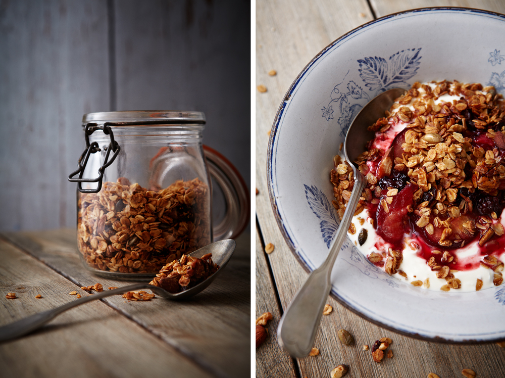 Granola with Yoghurt & Baked Plums.