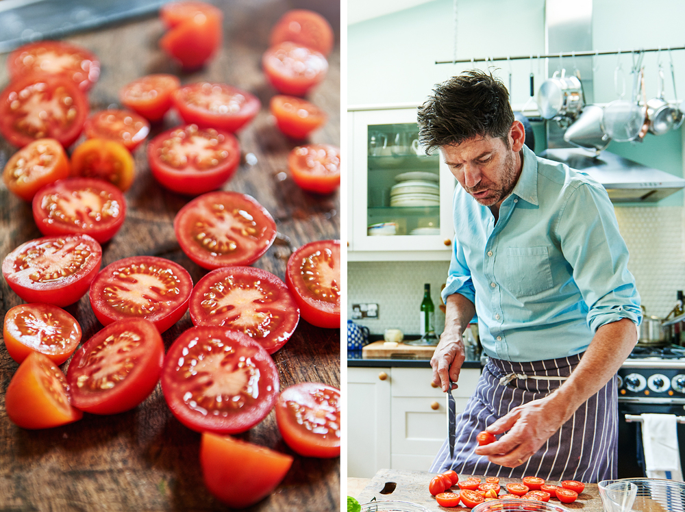Food and drink photographer and tabletop director Scott Grummett based in London. Shooting Advertising, editorial, packaging, pr and more. Shown here is food photography and portrait photography from food photographer and director Scott Grummett of Russell Norman The Reluctant Cook and Restaurant man for Esquire magazine in the uk. Cherry tomatoes being sliced and chopped for a cappers salad by venetian loving chef Russell Norman.    photographers