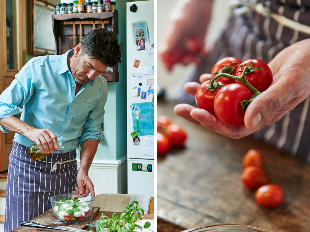Food and drink photographer and tabletop director Scott Grummett based in London. Shooting Advertising, editorial, packaging, pr and more. Shown here is food photography and portrait photography from food photographer and director Scott Grummett of Russell Norman The Reluctant Cook and Restaurant man for Esquire magazine in the uk. Cherry tomatoes being sliced and chopped for a cappers salad by venetian loving chef Russell Norman. Vine tomatoes in hand, olive oil being poured photographers