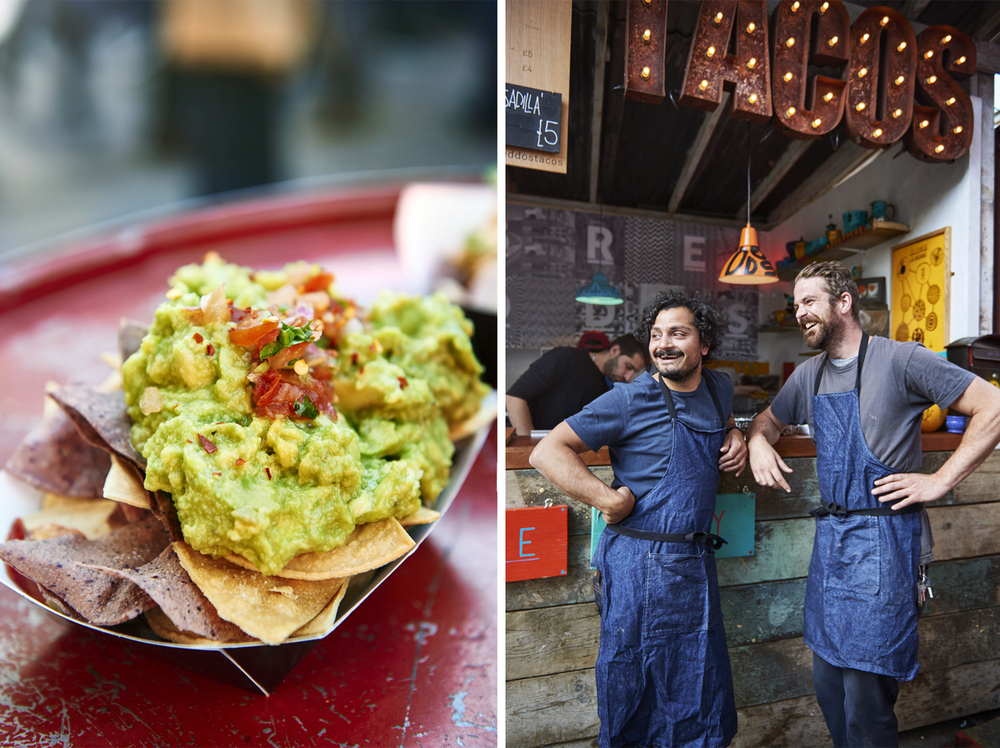 Street food photography from street feast in dalston yard, shoreditch dinerama and lewisham model market. Natural daylight lifestyle shots from photographer and director scott grummett of street food and drink in london used for advertising press pr packaging and editorial. lifestyle friends daylight day light breddos tacos  chips guac guacamole tortilla vendors vendor person portrait smiling friends working
