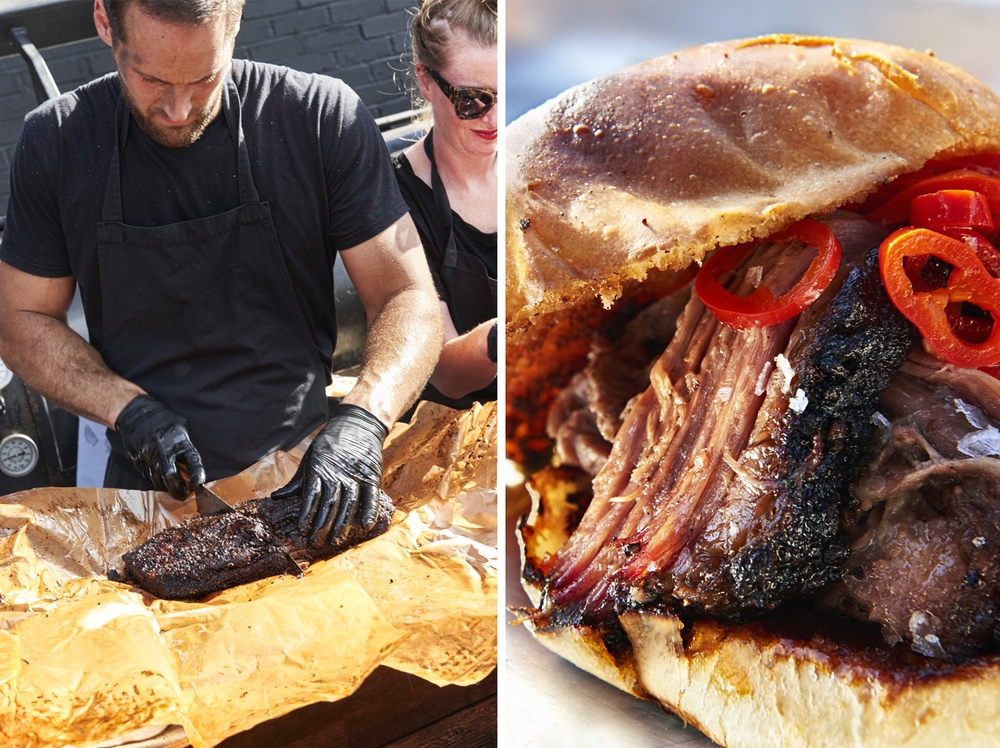 Street food photography from street feast in dalston yard, shoreditch dinerama and lewisham model market. Natural daylight lifestyle shots from photographer and director scott grummett of street food and drink in london used for advertising press pr packaging and editorial. smokestack smoke stay bbq barbecue vendor brisket cutting bun vendor pulled pork carving salt grease proof paper bun meat peppers