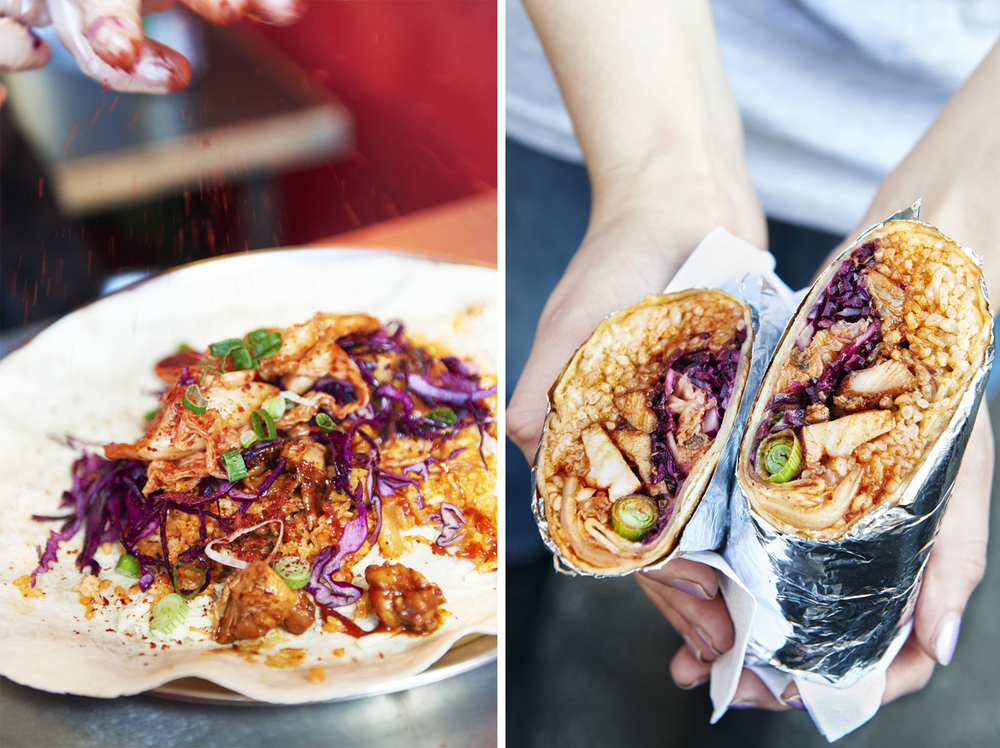 Street food photography from street feast in dalston yard, shoreditch dinerama and lewisham model market. Natural daylight lifestyle shots from photographer and director scott grummett of street food and drink in london used for advertising press pr packaging and editorial. lifestyle friends kimchinnery burrito kimchi roll making chef preparation wrap chicken paprika korean