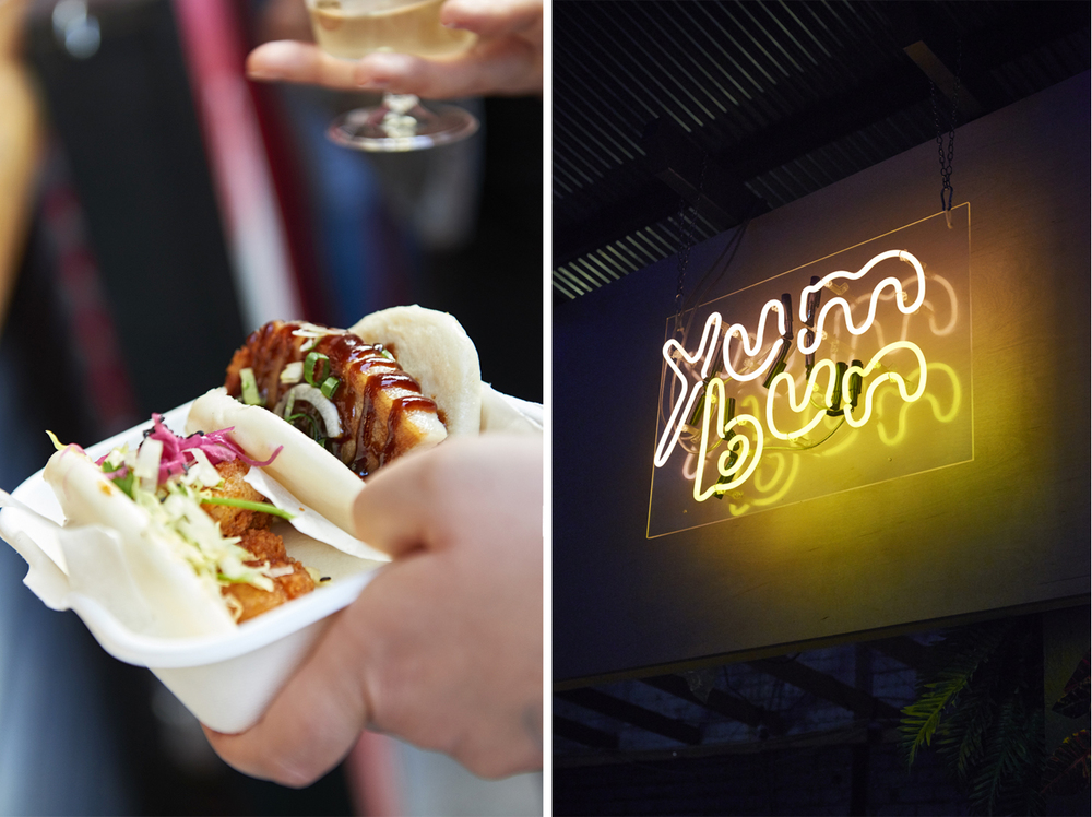 Street food photography from street feast in dalston yard, shoreditch dinerama and lewisham model market. Natural daylight lifestyle shots from photographer and director scott grummett of street food and drink in london used for advertising press pr packaging and editorial. lifestyle friends daylight day light yumbun yum bun pork chicken shrimp bbq barbecue lights yum bum