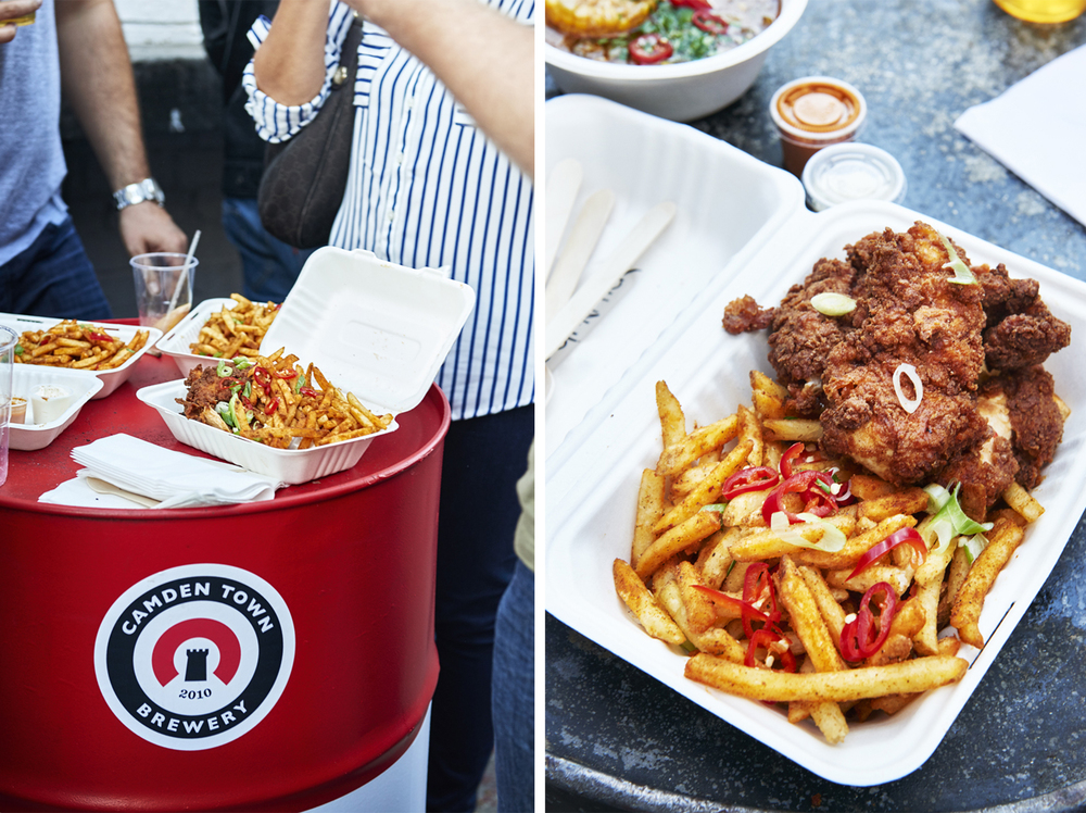 Street food photography from street feast in dalston yard, shoreditch dinerama and lewisham model market. Natural daylight lifestyle shots from photographer and director scott grummett of street food and drink in london used for advertising press pr packaging and editorial. mother clicker fried chicken chips chilli buttermilk butter milk k f c kfc kentucky fried chicken deep fried
