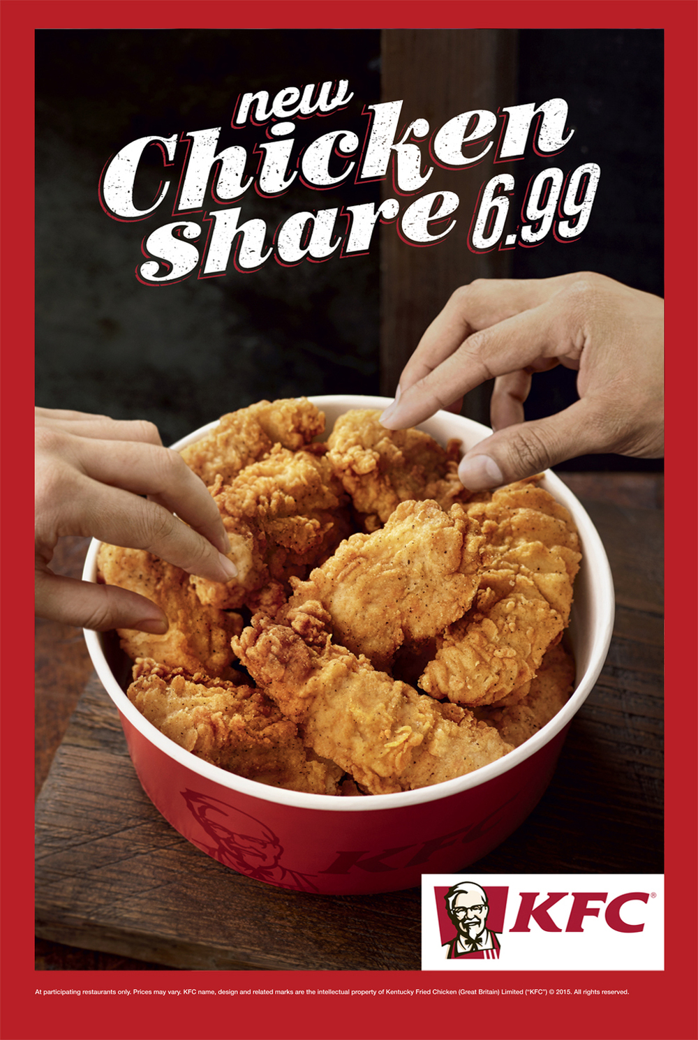 Food and drink photographer and tabletop director Scott Grummett based in London. Shooting Advertising, editorial, packaging, pr and more. Shown here is food photography from food photographer and director Scott Grummett of  Kentucky Fried Chicken or KFC it's southern fried chicken. The colonel. Hands picking mini fillets of a bargain bucket.