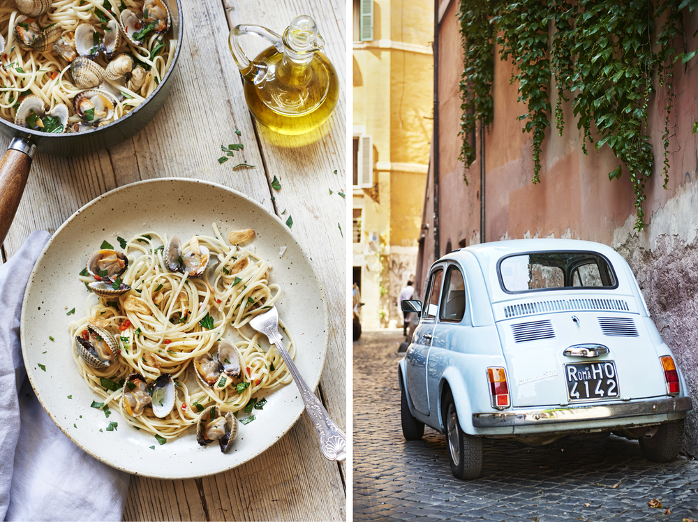 Food and drink photographer and tabletop director Scott Grummett based in London. Shooting Advertising, editorial, packaging, pr and more. Shown here is food photography from food photographer and director Scott Grummett of  Italian travel photography and lifestyle photography  Spaghetti Vongole, clams, seafood, garlic, street, fiat panda, 500, car