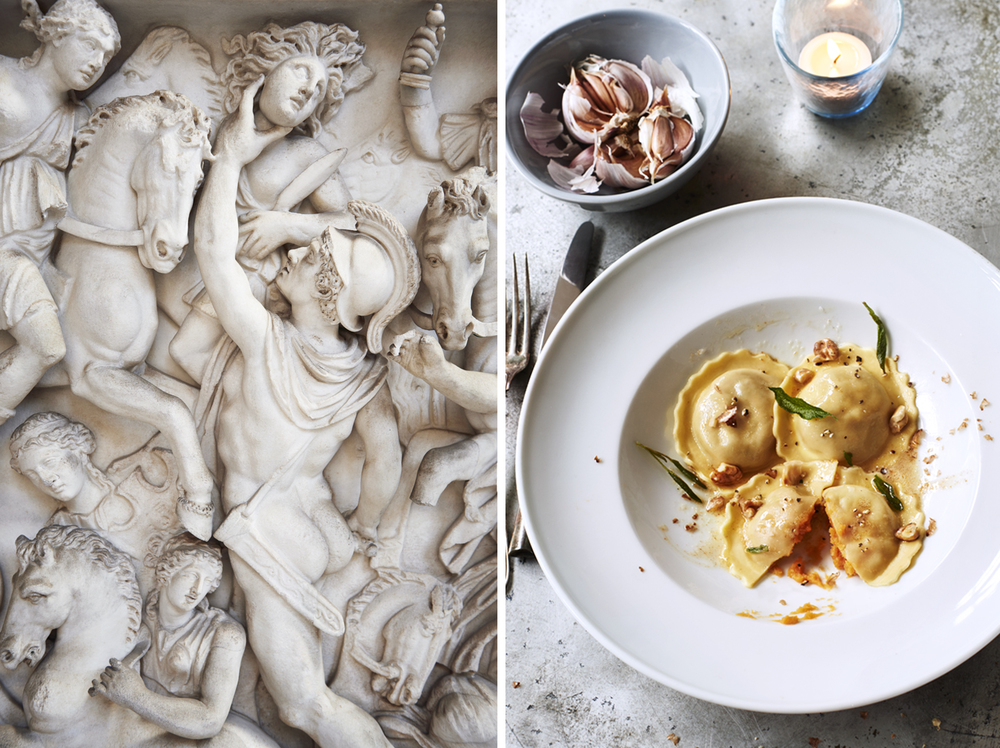 Food and drink photographer and tabletop director Scott Grummett based in London. Shooting Advertising, editorial, packaging, pr and more. Shown here is food photography from food photographer and director Scott Grummett of Italy Italian travel photography  sculpture sculpt horse roman ravioli plate garlic