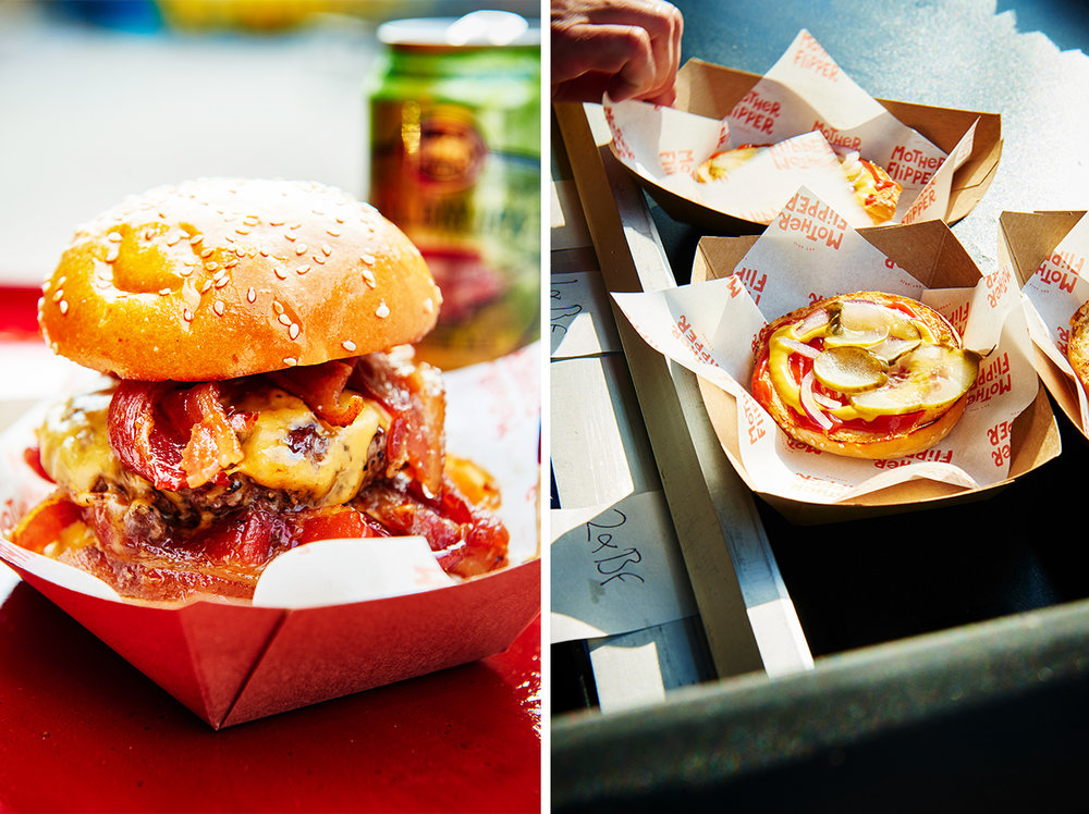Street food photography from street feast in dalston yard, shoreditch dinerama and lewisham model market. Natural daylight lifestyle shots from photographer and director scott grummett of street food and drink in london used for advertising press pr packaging and editorial. lifestyle friends burgers toasting cheese cheeseburger hamburger daylight mustard french's frenchs squirt french english bacon bacon double candy red onion