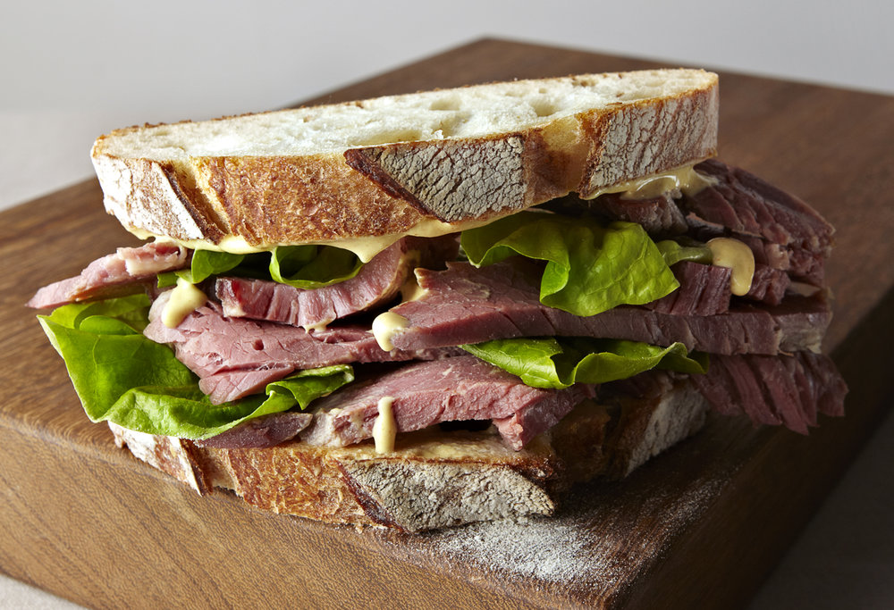 food photographer photography london uk drinks meals lunch dinner brunch breakfast advertising editorial sandwich beef salt lettuce mustard mayonnaise white bread sourdough crust flour baked st james estate