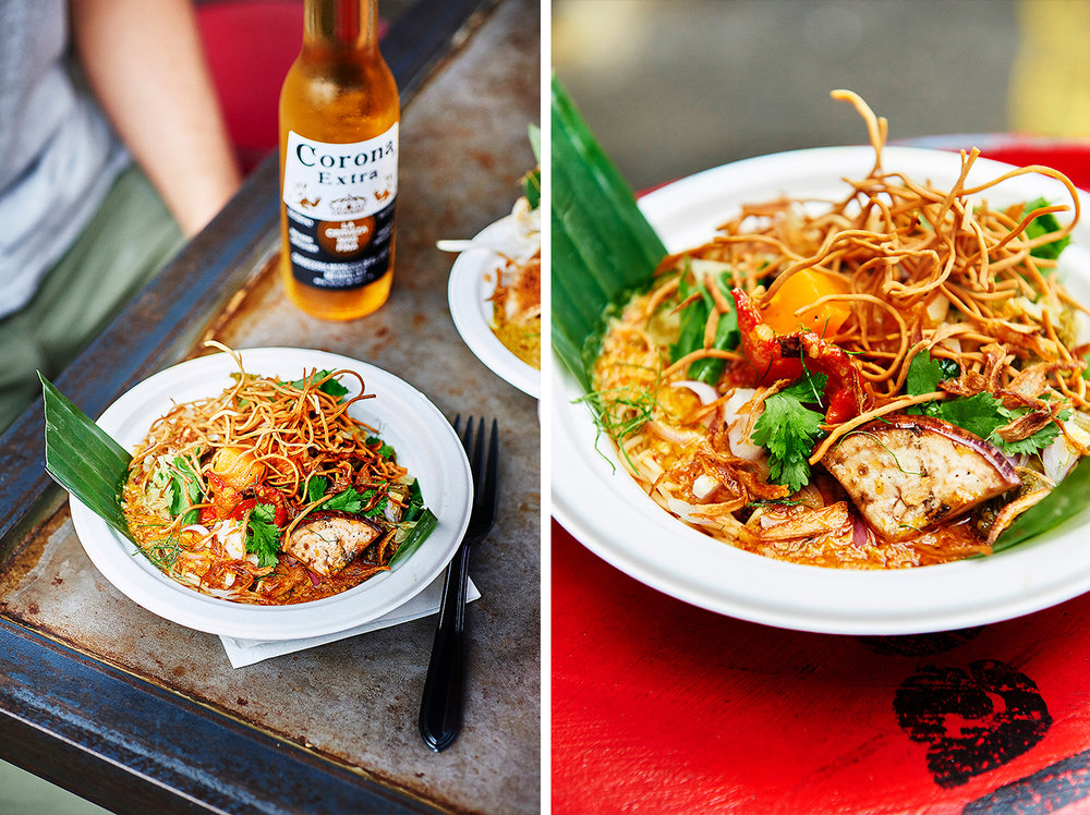 Street food photography from street feast in dalston yard, shoreditch dinerama and lewisham model market. Natural daylight lifestyle shots from photographer and director scott grummett of street food and drink in london used for advertising press pr packaging and editorial. vibrant colourful joy sharp summer fork plate light