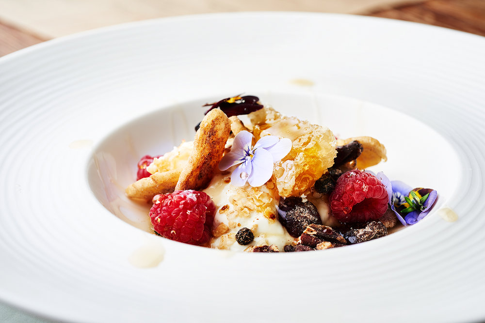 food photographer photography london uk drinks meals lunch dinner brunch breakfast advertising editorial waffles fried eggs blackberries blueberries blueberry blackberry granola yogurt flowers dates nasturtium oats aviator by tag one eleven farnborough