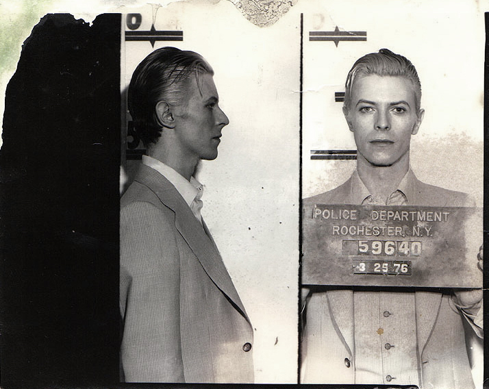 David Bowie , March 1976  Rochester Police Department, New York