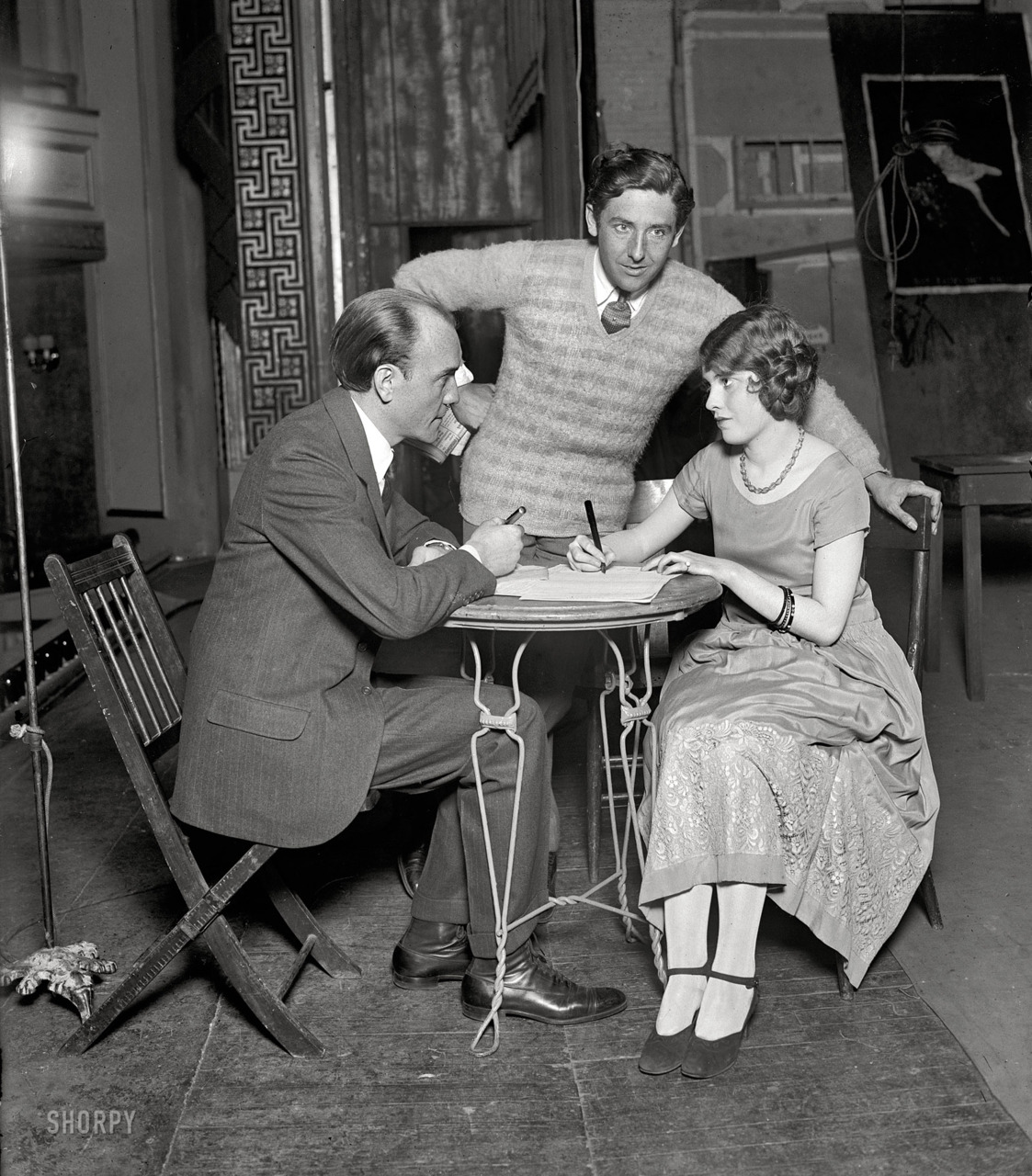 Broadway impresario Earl Carroll signs up Miss Katherine Revner in  The Rat ,  1925  National Photo Company Collection