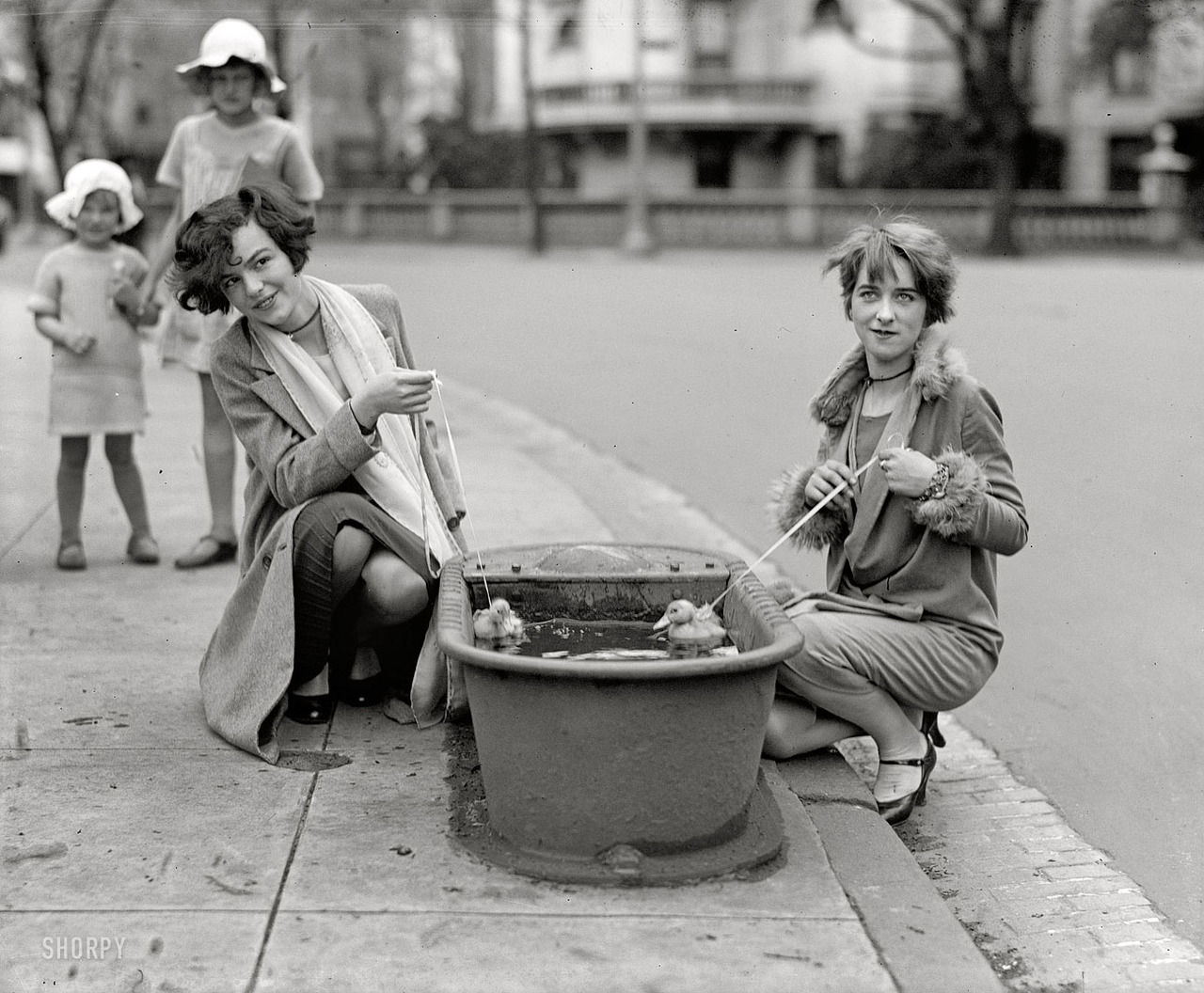 Do ducks swim? Misses Eugenia Dunbar and Mary Moose , 1927 National Photo Service