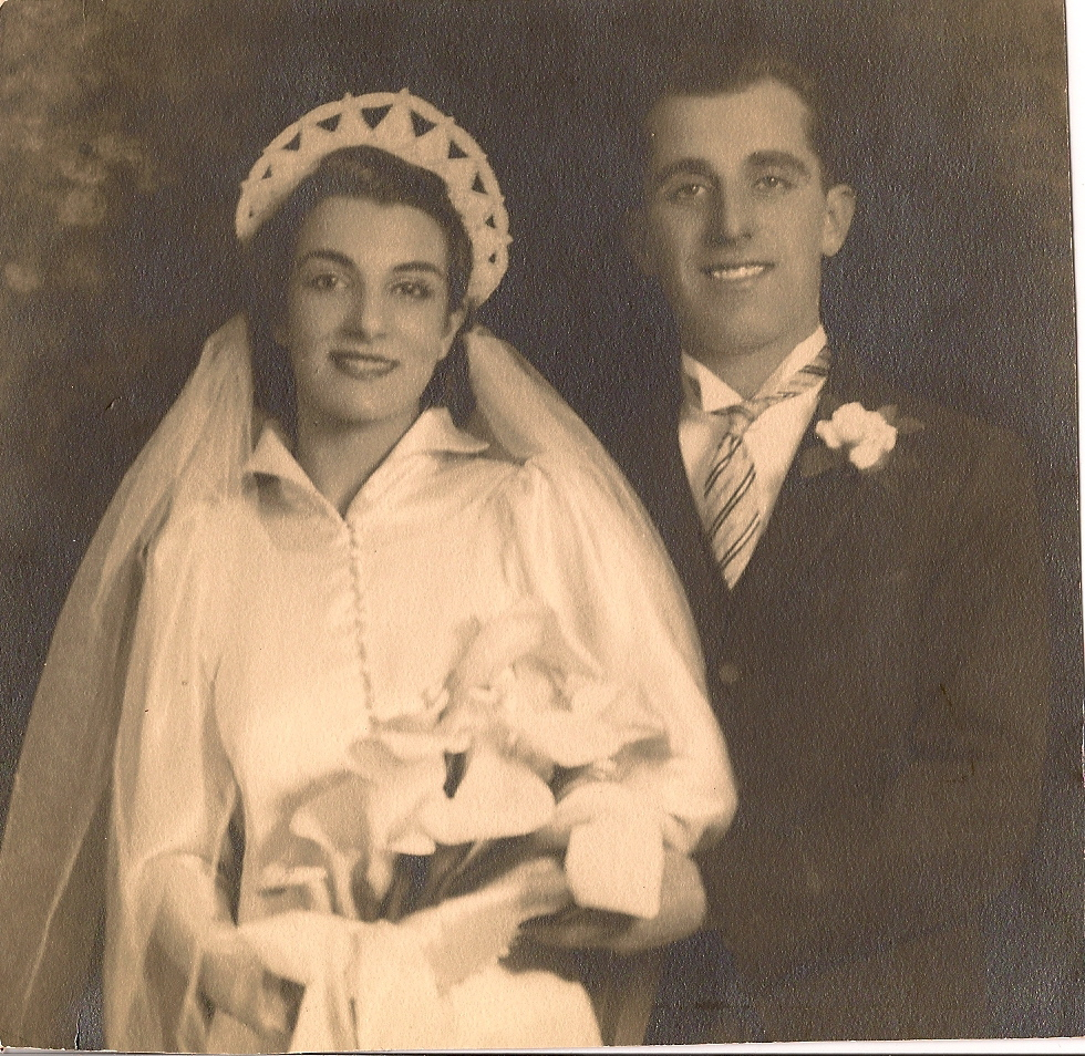 "Here he is with my Grandmother Clara on their wedding day.  They were married for 58 years.  Gram passed away at age 98 and Gramp always talked about his ""bride""."