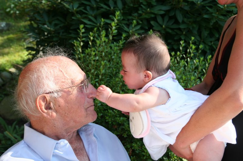 Here he is with Sadie. One of his nine Great-Grandchildren.