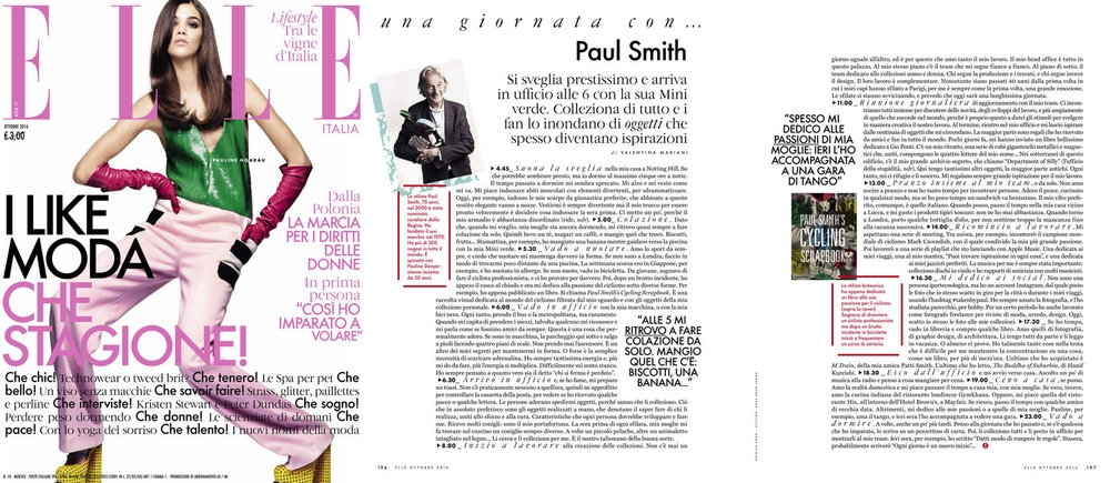 NEW: Paul Smith featured in Elle Italia and (right), collaboration with Vivienne Westwood for Climate Revolution, featured in Vogue and Harper's Bazaar UK.