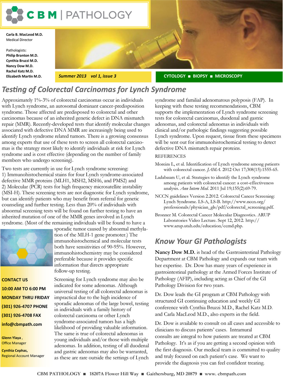 Summer 2013- click on image for pdf to print Gastrointestinal Pathology