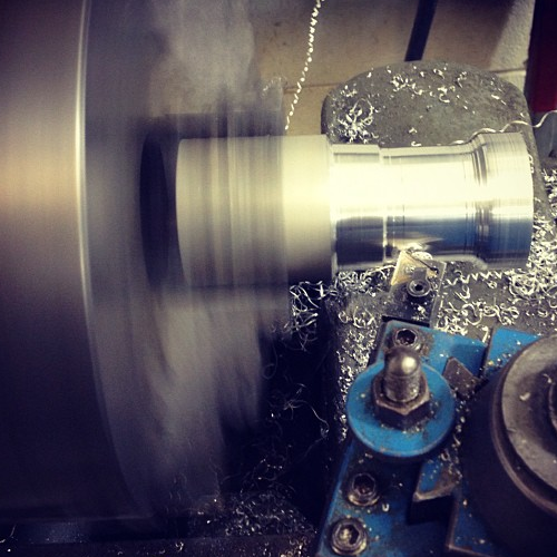 Milling down Aluminum Espresso Tamper.