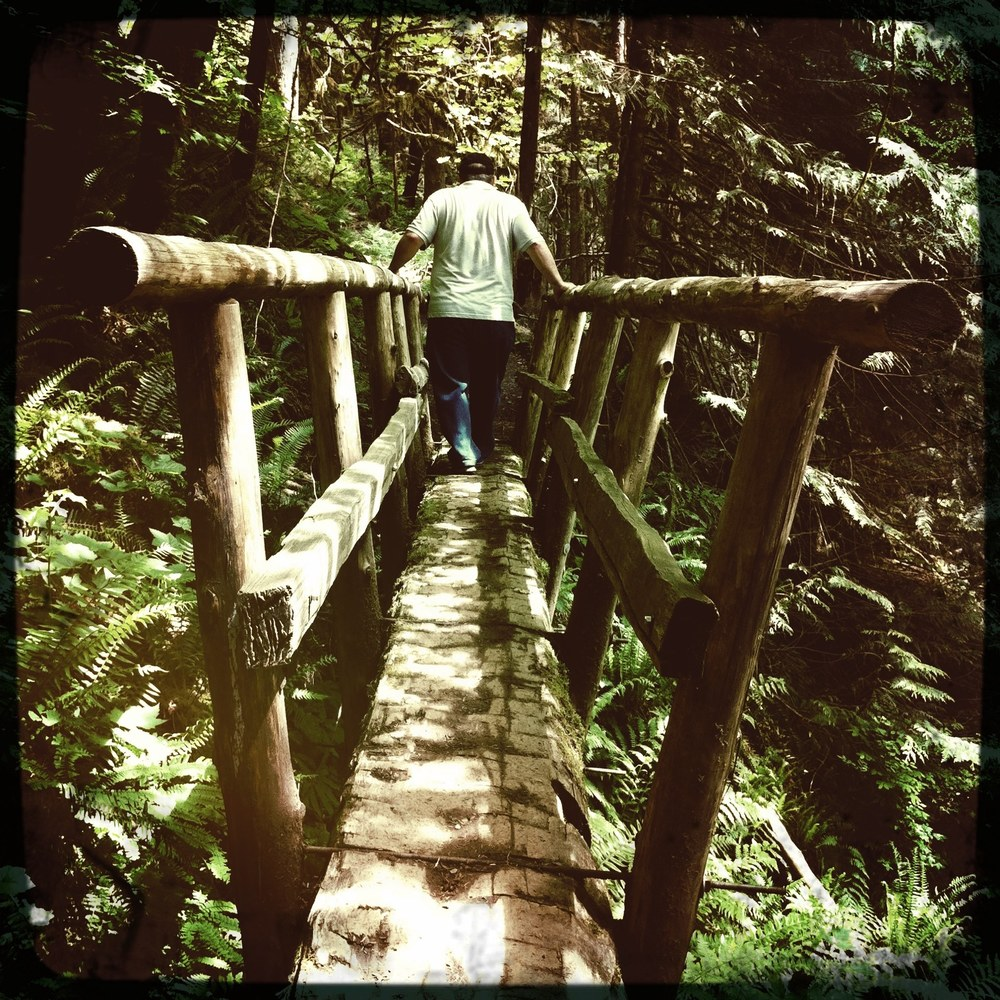 One of the first hikes that I took my dad on while he was visiting. We came across this bridge and my dad held on with both hands the whole time... he is sooo cute.