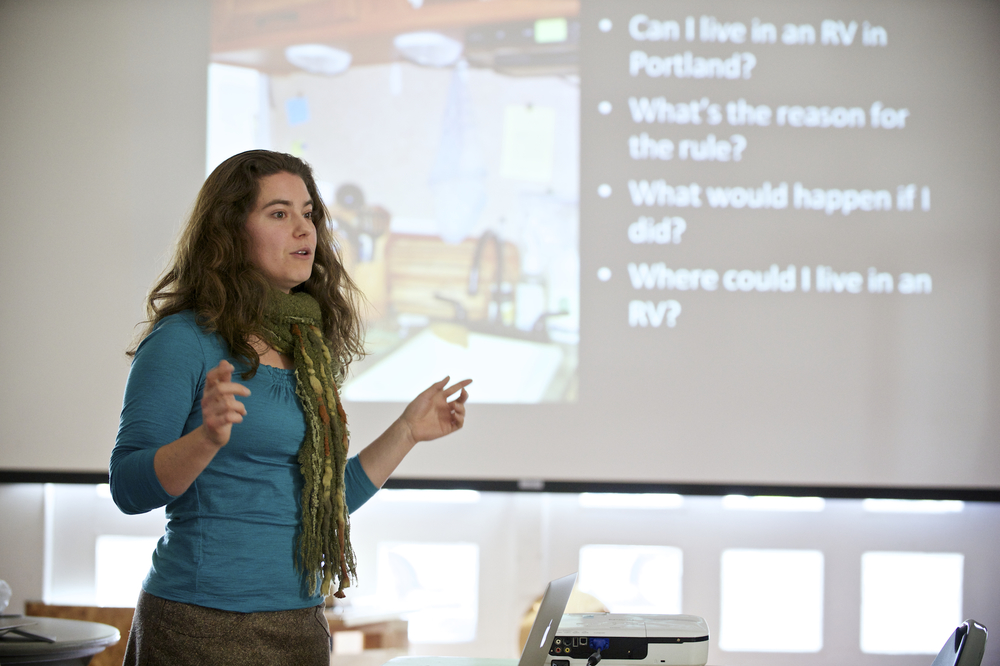 Lina Menard talks about Codes in the Tiny House Community. -Photo by Christopher Tack