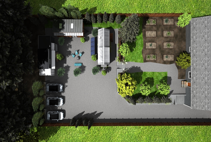 The space behind the common house will be food garden and fruit trees.