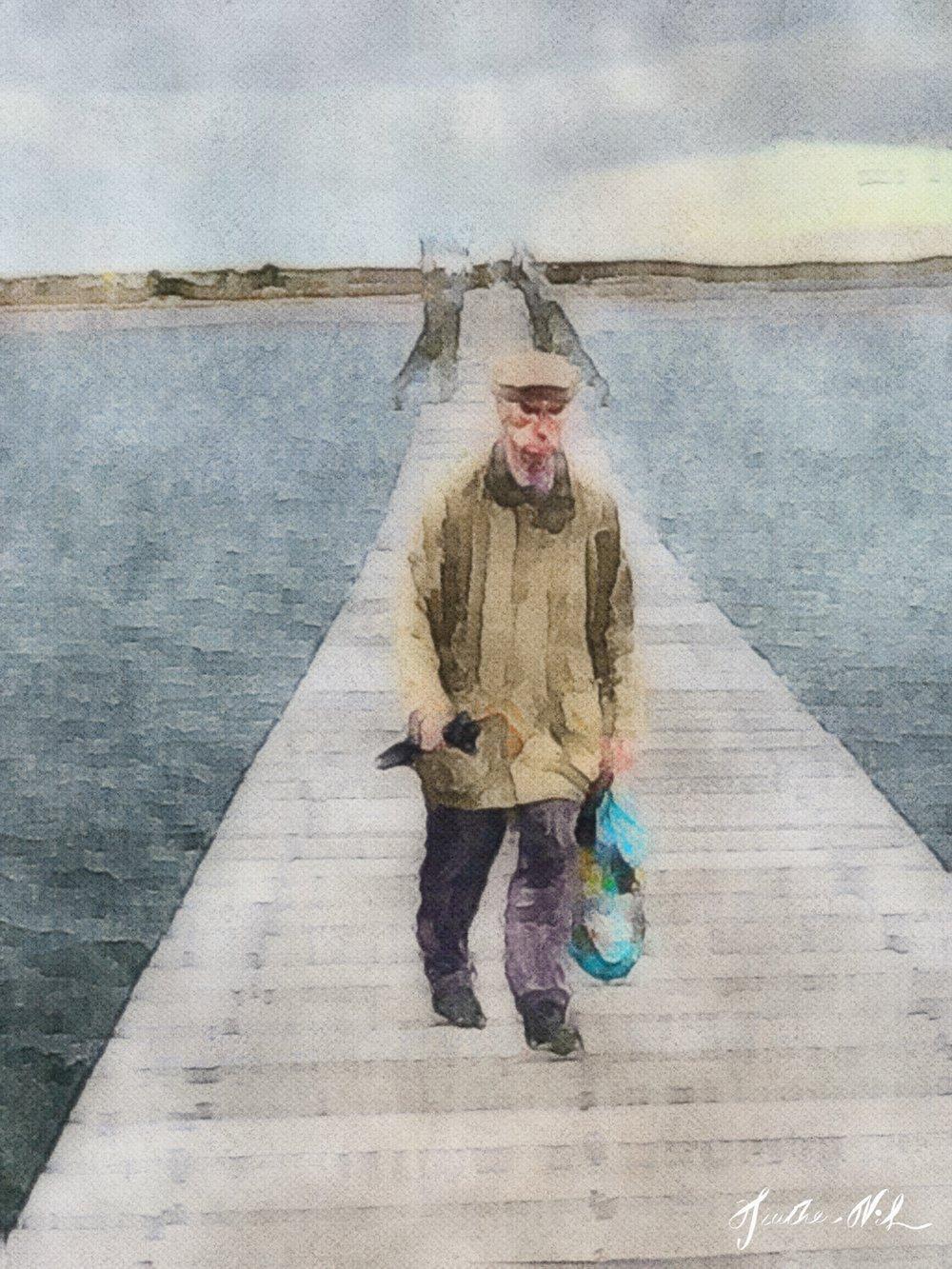 Harold on the boardwalk in Sandwich, MA - iPhone XS Max, Procreate, iColorama