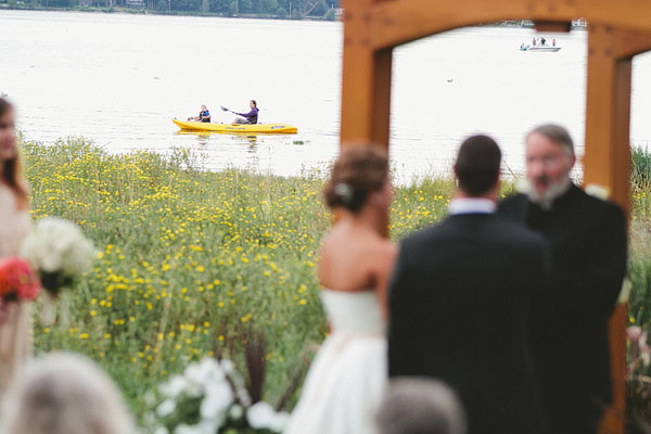 kayakers at a wedding