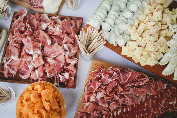 meat and cheese at wedding