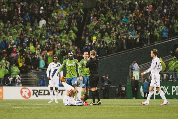 playoff yellow card Sounders