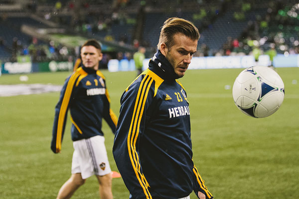 David Beckham warms up Seattle Sounders playoff