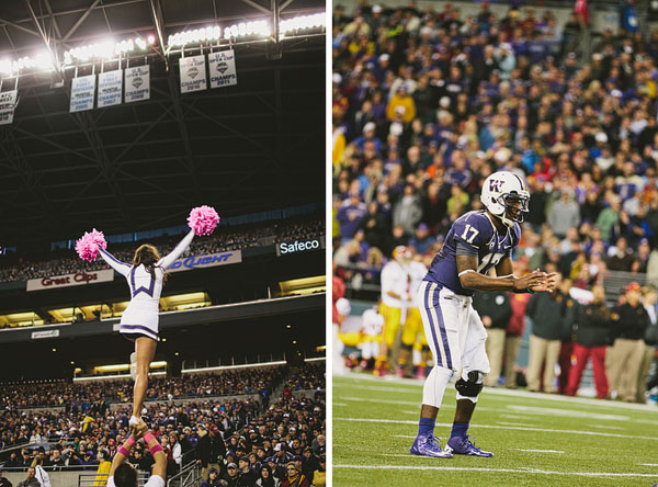 UW cheerleader up in air