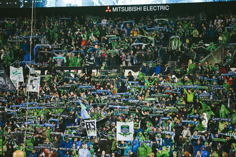 scarves up Seattle Sounders