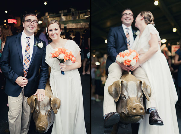 pike place market pig wedding photography