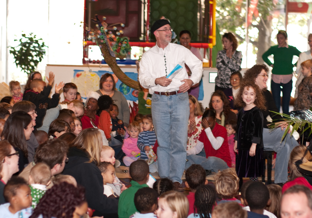 Mr. Zwolak singing with the children at UCCC
