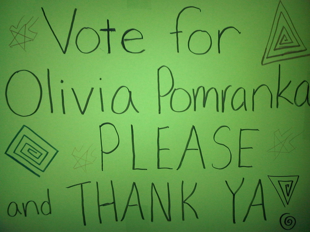 Olivia is running for Student Council Secretary. These are her posters ...