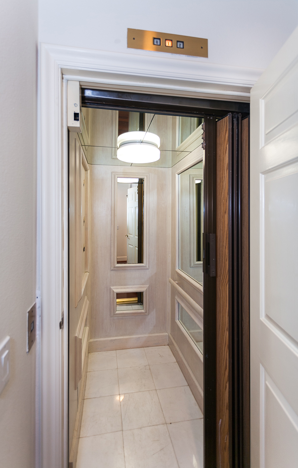 A fancy elevator to maneuver the 3 story home.