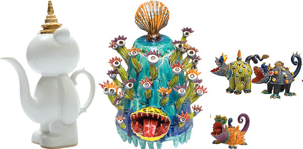 """P  ee Bear Teapot with Thai Hat"", `Medusa' and `Teddy Bear Eater'"