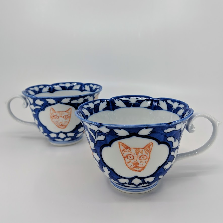 Cat cups made in Arita