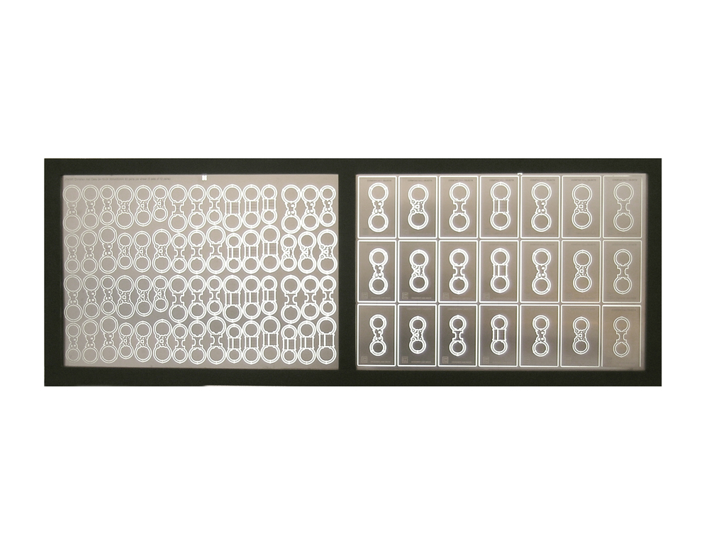 Thirty Seconds Faster  | 2005 | Light box displaying chemically milled parts | Stainless steel