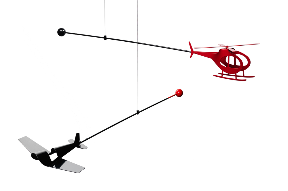 Helicopter & Aeroplane Mobiles (prototypes) | 2010 | Powder Coated Aluminium, Stainless Steel | 1M