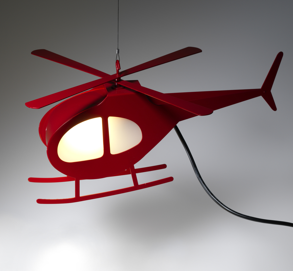 H500 Lamp, Red  (prototype) | Powder Coated Steel, Acrylic, 240v Lighting Components | 40cm
